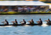 Speeding rowing boat with motion blur to accent speed.